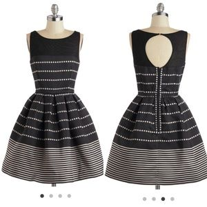 """Taylor Brand """"Fit and Flare"""" Black & Silver Dress"""